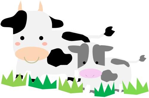 牛2頭のイラスト